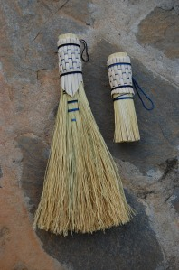 Small whisk broom and scrubber