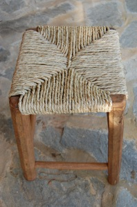 Footstool with seagrass seat